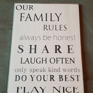 'Our Family Rules' Sign Wall Art
